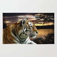 novelty Area & Throw Rugs featuring Sunset Tiger by Moody Muse
