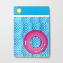 Swim Poolside in Summer Blue Planet Pink Tube Metal Print