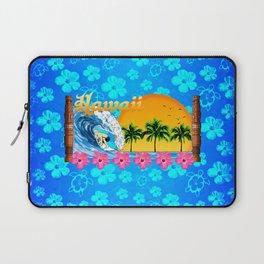 Hawaiian Surfing And Honu Pattern Laptop Sleeve