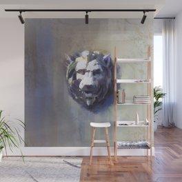 Lion Head White Marble Wall Mural