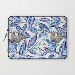 Happy Sloth – Tropical Blue Leaves Laptop Sleeve