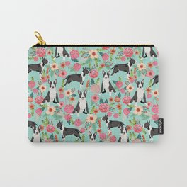 Bull Terrier floral dog breed gifts pet pattern by pet friendly bull terriers Carry-All Pouch