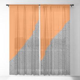 Cement vs Orange Diagonal Color-block Sheer Curtain