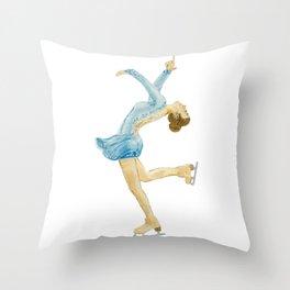Girl in blue dress. Figure skater. Throw Pillow