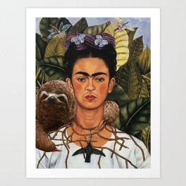 Frida Kahlo Self Portrait with a Sloth Art Print