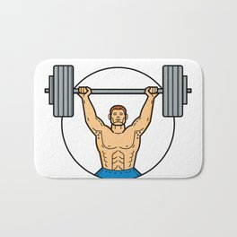 Weightlifter Lifting Barbell Mono Line Art Bath Mat