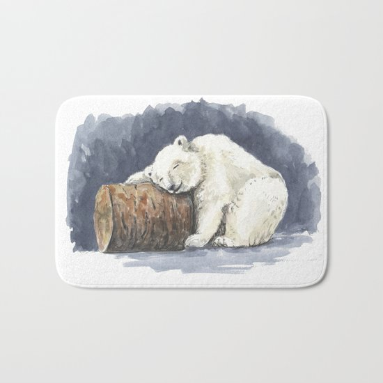 Sleeping polar bear, watercolor art Bath Mat