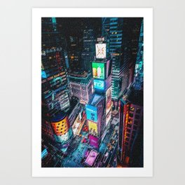 Times Square New York City Neon Lights Nighttime Landscape Painting by Jeanpaul Ferro Art Print