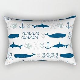 nautical whales sharks and anchors in navy grey white kids nursery boys girls decor Rectangular Pillow