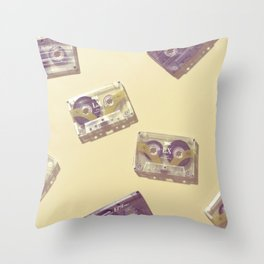 Cassettes in yellow Throw Pillow