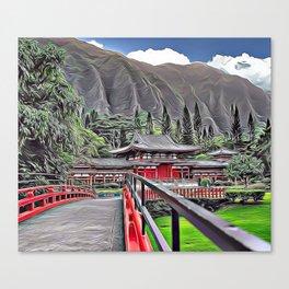 Oriental Buddha Temple Airbrush Artwork Canvas Print