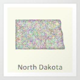 North Dakota map Art Print