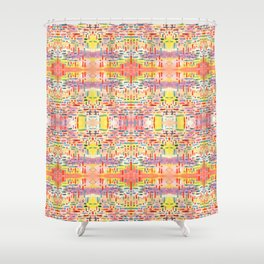 Almost Gingham Check Watercolor Abstract Pattern - Yellow & Orange Shower Curtain