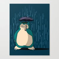 snorlax Canvas Prints featuring My Neighbor Snorlax by EnoLa