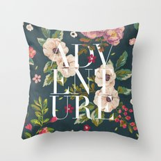 Adventure // Floral Typography Throw Pillow