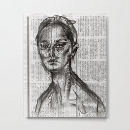 Alert - Charcoal on Newspaper Figure Drawing Metal Print