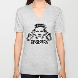 FAC 1 tribute - Factory Records - Use Hearing Protection Unisex V-Neck