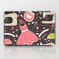 sewing iPad Cases featuring Vintage Sewing by Poppy & Red