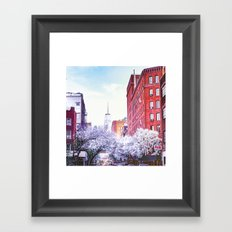 New York City Cherry Blossoms Framed Art Print