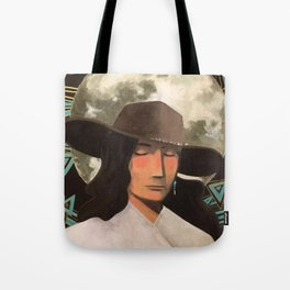 Portrait of A Southwestern Traveler with The Moon & Geometric Shapes In The Background Tote Bag