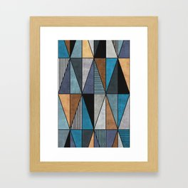 Colorful Concrete Triangles - Blue, Grey, Brown Framed Art Print