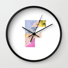 Collaged Tangram Alphabet - F Wall Clock