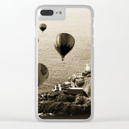 Flying Hot air Balloons over Newfoundland Monochrome Sepia color Clear iPhone Case