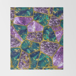 Amethyst and Green Marble Gold Throw Blanket