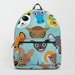 Seamless pattern cute face funny animals on blue background. Vector Backpack