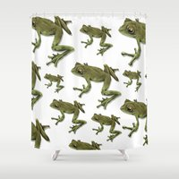little prince Shower Curtains featuring little frog prince  by Devon Busby Busbyart