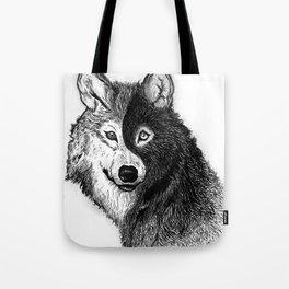 Ying Yang Wolf Tote Bag