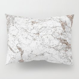 White frost - rose gold marble Pillow Sham