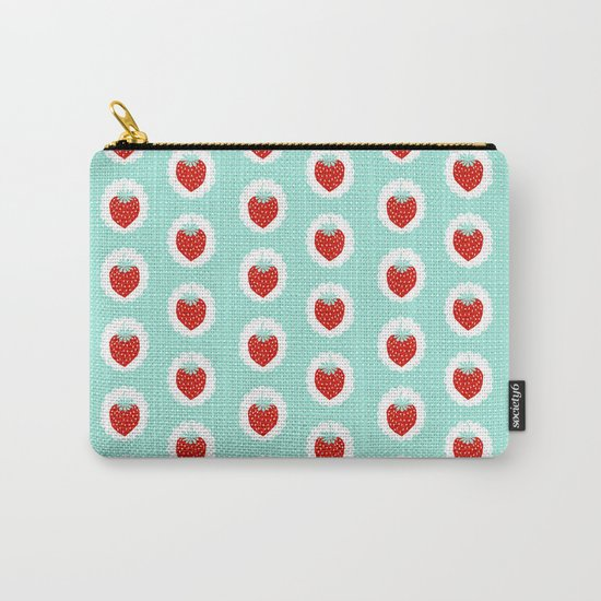Strawberry fruit tropical mint nature food fresh pattern design geometric berries children farming  Carry-All Pouch