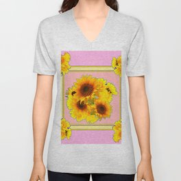 YELLOW SUNFLOWER BOUQUETS ON PINK Unisex V-Neck