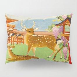 Vintage Mid Century Modern Japan Travel Poster Deer Red Pagoda Wisteria Garden Pillow Sham