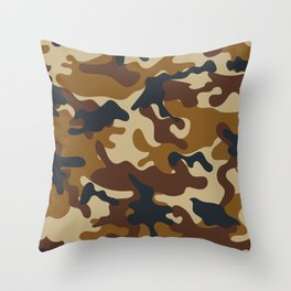 Brown Army Camo Camouflage Pattern Throw Pillow
