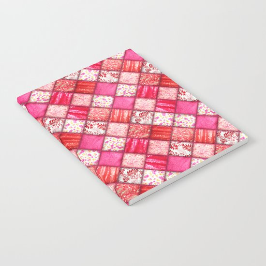 Faux Patchwork Quilting - Pink and Red Notebook