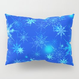Pattern of luminous light blue snowflakes on a light background with bright highlights. Pillow Sham