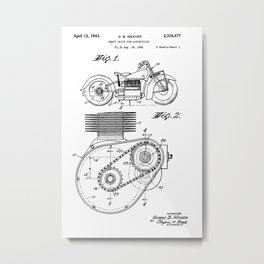 Motorcycle Patent Art Metal Print