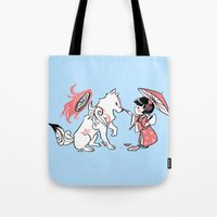 okami Tote Bags featuring Painting with Okami by Miski