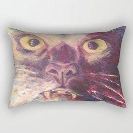 Vampire Cat, Watercolor Painting, Fang Kitty Rectangular Pillow
