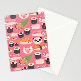 Kawaii sushi hot pink Stationery Cards