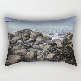 Waves Crashing on Seaweed Covered Rocks Rectangular Pillow