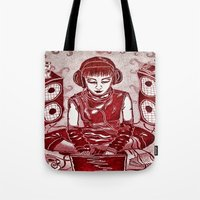 internet Tote Bags featuring Internet Girl by Yukska