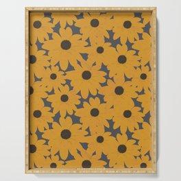 Black Eyed Susan Yellow Floral Retro Print Serving Tray