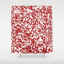 Small Spots - White and Firebrick Red Shower Curtain