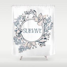 SURVIVE - A Floral Print Shower Curtain