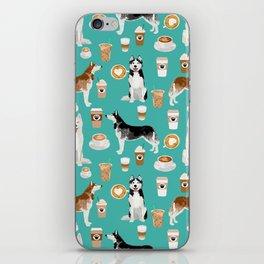 Husky siberian huskies coffee cute dog art drinks latte dogs pet portrait pattern iPhone Skin