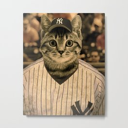 Baseball Cat Metal Print