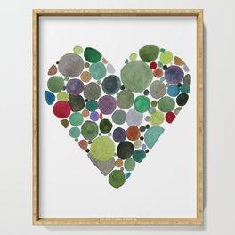 Green dots heart Serving Tray